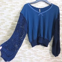 Free People Crochet Sleeve Knit Sweater Navy Xs