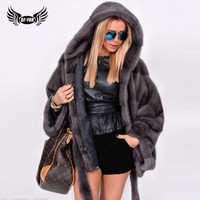 BFFUR Clothes 2018 New Genuine Mink Coats Sale Capped Woman Winter From Natural Fur Belt Thick Warm With Fur Trim Hood Casual