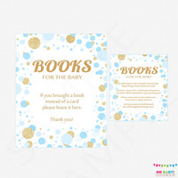 Bring a Book Instead of a Card Insert + Sign - Book Request Baby Shower - Blue and Gold Baby Shower Bring a Book Insert Printable CB0003-bg