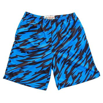 Royal and Black Two-Tone Camo Sublimated Lacrosse Shorts
