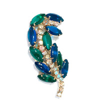 Rhinestone Leaf Brooch, Multi Color Green And Blue, Aurora Borealis Crystals, Mid Century, Gold Tone Pin, Prong Set, Vintage 1960s 1970s
