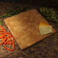 "Wedding Dream's Cutting Board with Wedding Designs and Font Selection (Each - 12"" Square)"