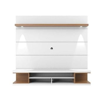 """Utopia 70"""" Floating Theater Entertainment Center with Led Lightsand, White"""