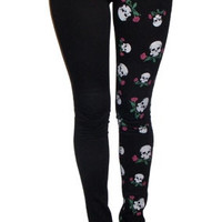 Tripp NYC The Printed Split Leg in Black with Skulls & Roses