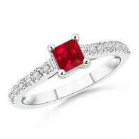 Square Ruby Solitaire Ring With Diamond Accents