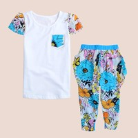 Summer Clothing Set for Girls Tracksuits Infant Sports Sets Print Kid Clothes Active Short Sleeve T-Shirt Pants Suits