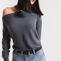 The Marled Sweater One Shoulder -Storm Grey