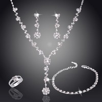 Silver Tone Crystal Tennis Choker Necklace Set Earrings Wedding Bridal Bridesmaid African rings and bracelet Jewelry Sets