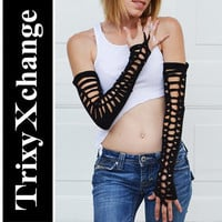 TRIXY XCHANGE - Open Laced Knotted Black Arm Warmers Fingerless Gloves Upcycled Recycled Ripped Womens Burning Man Costume Burner