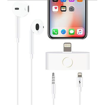 MaximalPower™ Lightning to Home Button and Audio Headphone 3.5mm Adapter for iPhone 5/6/7/8/X