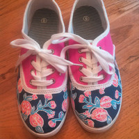 """Hand Painted Lilly Pulitzer Inspired Laced Sneakers """"Pom Poms"""""""