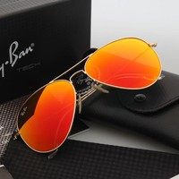 Ray Ban Aviator Sunglasses Gold Frame Orange Flash Lens RB3025 Sunglasses