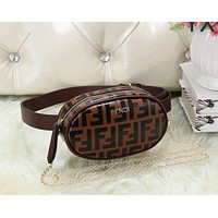 FENDI Women Leather Purse Waist Bag Single-Shoulder Bag Crossbody Coffee
