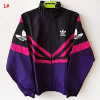 Adidas New fashion letter leaf print long sleeve top coat windbreaker