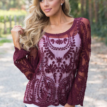 Embroidered Lace Sheer Blouse Burgundy