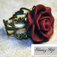 Vintage Inspired Blooming Rose Ring by Shininggift
