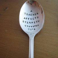 Gift for Teacher, Vintage Gift for Christian, Hand Stamped Spoon, Handmade Gift for Sunday School Teacher, Gift for Pastor, Antique Gift