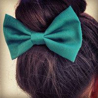 Green BIG hair bow1
