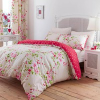 Canterbury Red Cream Floral Polka Dot Reversible Duvet Quilt Cover Bedding Set