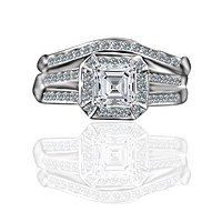 1 CT. Intensely Radiant Square Diamond Veneer Cubic Zirconia Wedding/Engagement Set Sterling Silver Ring. 635R71637