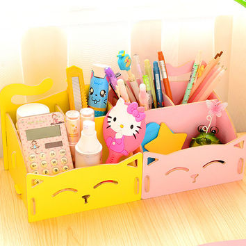 Cute Cat Desktop Wooden Sundries Stationery Makeup Storage box