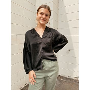 Satin Pajama Shirt, Black