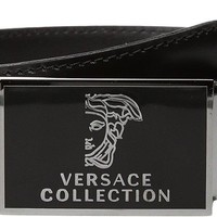 Versace Collection Men's Logo Plaque Buckle Belt Black Belt
