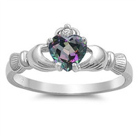 Sterling Silver Rainbow Topaz CZ Claddagh Ring