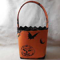 Black and Orange Halloween Themed Fabric Basket With Handle