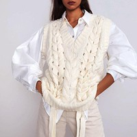 Women Knitted Sweaters Pullovers Vest Sleeveless Loose Casual Ladies Knit Sweater Vest