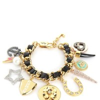 Gold Multi Charm Leather & Chain Bracelet by Juicy Couture, O/S