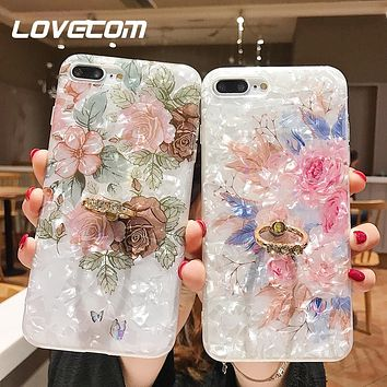 Retro Floral Ring Stand Phone Case For iPhone 11 Pro Max XR XS Max XS 7 8 6 Plus Case Soft IMD Dream Shell Phone Cover