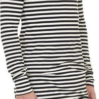 The Long Sleeve Longline Shirt - Black and White Striped Cotton