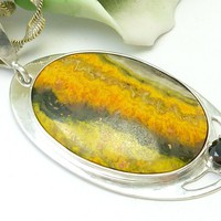 """Bumble Bee Jasper Oval Sterling Pendant Necklace with 24"""" Chain"""