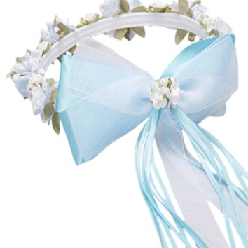Light Blue Floral Crown Wreath Handmade with Silk Flowers, Satin Ribbons & Bows (Girls)