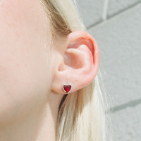 Silver and Red Heart Rhinestone Stud Earrings - Jewelry - Accessories