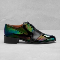 & Other Stories   Leather Flats   Green Dark