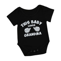 Unisex Short Sleeve Printed Black Onsie