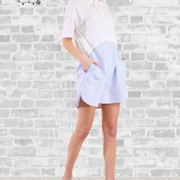 Oxford Hoodie Dress - White & Blue - S, M & L