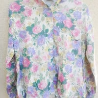 Vintage Floral Button Up Long Sleeve Shirt Pastel Flowers JORDACHE Brand High Low Shirt 1990s Normcore Floral Patterned Top Size Small