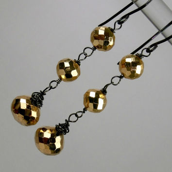 Gold Pyrite Dangle Earrings Wire Wrapped Oxidized Silver Dangle Earrings - Holiday Fashion