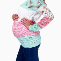 Aqua White Red Striped Maternity Sweater