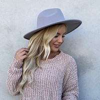 Steal The Show Wide Brim Grey Hat