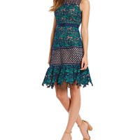 Belle Badgley Mischka Floral Lace A-Line Dress | Dillards