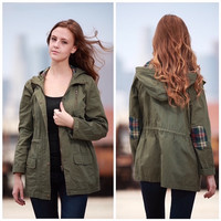 Olive Hooded Utility Jacket with Plaid Detail