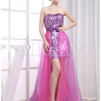 Beautiful Bow(s) Holiday Floor-Length Amethyst Prom Dress