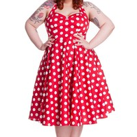 Hell Bunny Marian Rockabilly Red and White Polka Dot Minnie Halter Dress