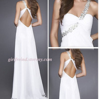 Charming one shoulder beading floor-length prom dress-4colors in from Your Closet