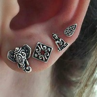 4 Pcs/set Fashion simple Bohemia style elephant earrings 171120