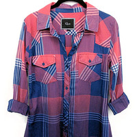 Rails Ashton Ombre buttondown shirt in red/blue